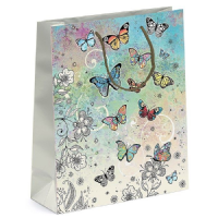 Colourful Butterflies Gift Bags, Gold Foil Art 26 x 32 x 13cm LARGE, Pack of 3